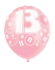 13th Birthday Pink Glitz Latex Balloons 12 inch